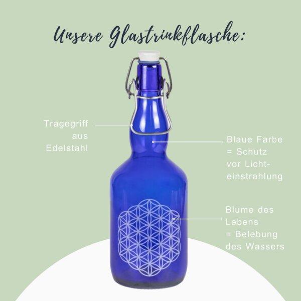 """Glastrinkflasche blau 750ml """"Blume des Lebens"""" mit Tragegriff"""