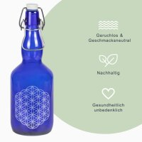 """Glastrinkflasche blau 750ml """"Blume des Lebens""""..."""