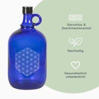 "Glasflasche blau 2 L ""Blume des Lebens"""